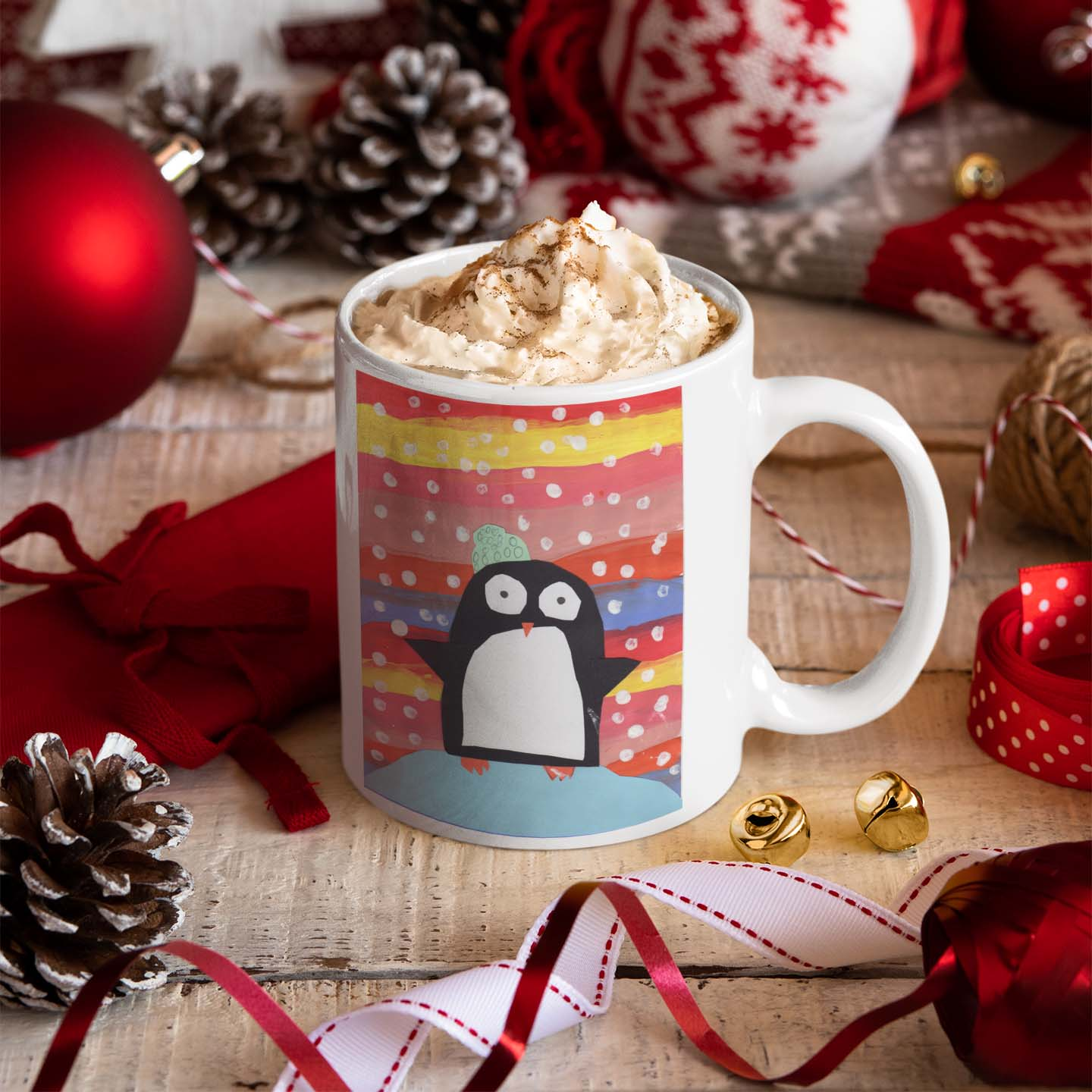 mockup-of-an-11-oz-coffee-mug-surrounded-by-xmas-decorations-30649